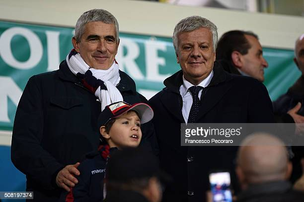 The politician Pier Ferdinando Casini and the agricoltural minister Gian Luca Galletti while they see the game at the stadio matusa during the match...