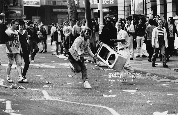 The Poll Tax Riots on Charing Cross Road in London 31st March 1990
