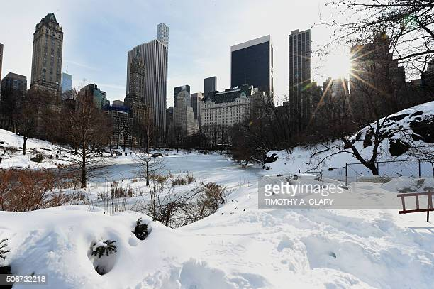 The Pond at Central Park as seen from the Gapstow Bridge January 25 2016 as New Yorkers were hit with a recordsetting snowfall Beyond the Big Apple...