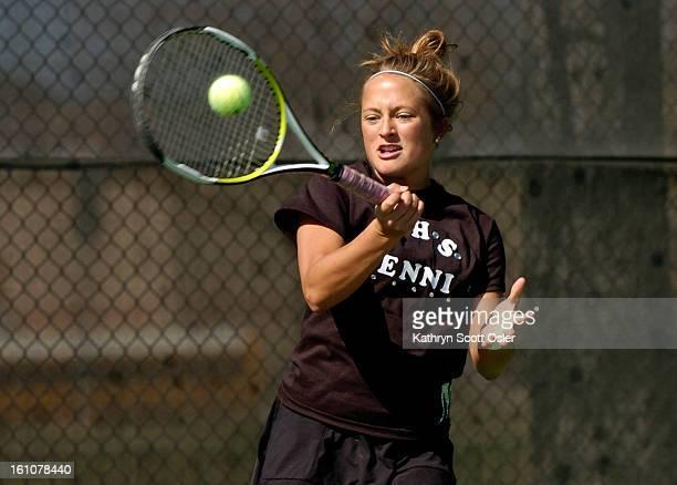 PRPTENNIS22_KSO_4_22_08073 The Ponderosa High School girls varsity tennis team hold a meet in Parker on Tuesday April 22 against the ThunderRidge...