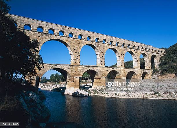 The Pont du Gard part of the ancient Roman aqueduct bridge in Nimes France Roman civilisation 1st century BC