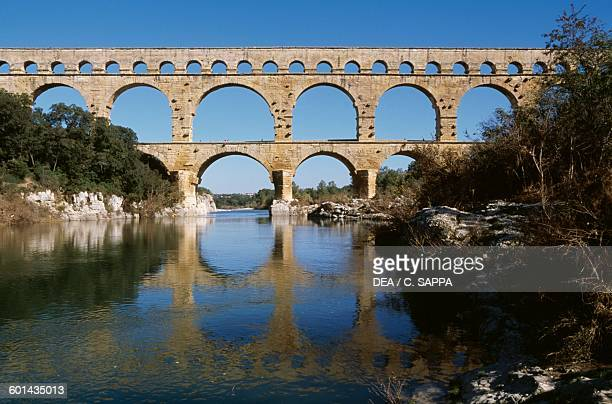 The Pont du Gard part of the Roman aqueduct of Nimes LanguedocRoussillon France 1st century BC