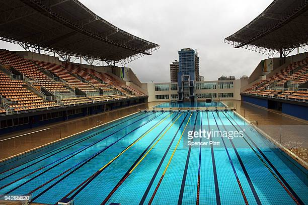 The pool and diving platform which is to be used for water polo and diving events is void of onlookers on December 10 2009 in Rio de Janeiro Brazil A...