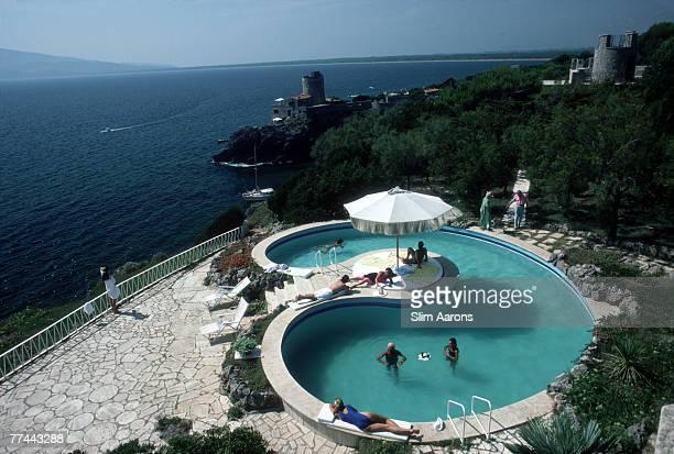The pool at the Villa Gli Arieti home of Lamberto Micangeli in Ansedonia near Porto Ercole Italy September 1986 In the distance is his daughter...