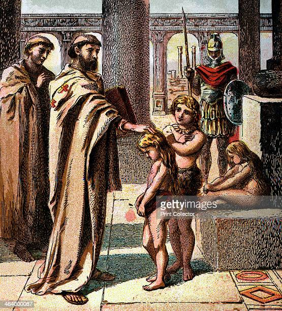 'The Pope And The Saxon Children' c180 In AD 598 Pope Gregory I sent bishop Augustine to persuade all the Saxons in England to become Christians...