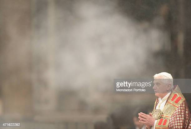 'The pope Benedict XVI chairing First Vespers of the First Sunday of Advent at Saint Peter's Basilica Vatican City 2nd December 2006 '