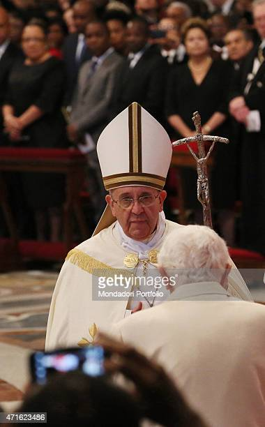 'The Pope Emeritus Benedict XVI attending the Public Ordinary Consistory for elevating 19 new cardinals chared by Pope Francis at Saint Peter's...