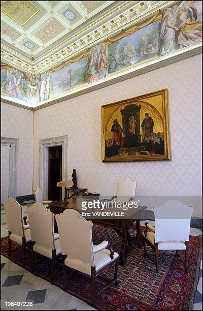 The Pope's desk in the private library in Rome Vatican City on February 26 2005