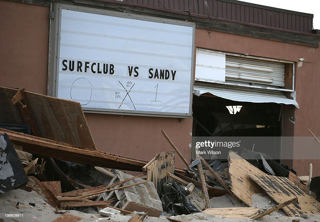 The poplular Surf Club was partially demolished by Superstorm Sandy on November 25, 2012 in Ortley Beach, New Jersey. New Jersey Gov. Christie estimated that Superstorm Sandy cost New Jersey $29.4 billion in damage and economic losses.