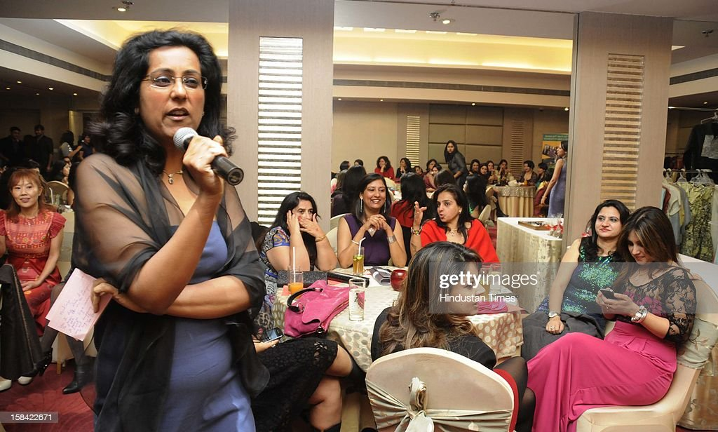 The popular Facebook group GurgaonMoms assembled in a hotel to hold a fund raising auction for NGO Ashish foundation that works for differently disabled children, on December 15, 2012 in Gurgaon, India.