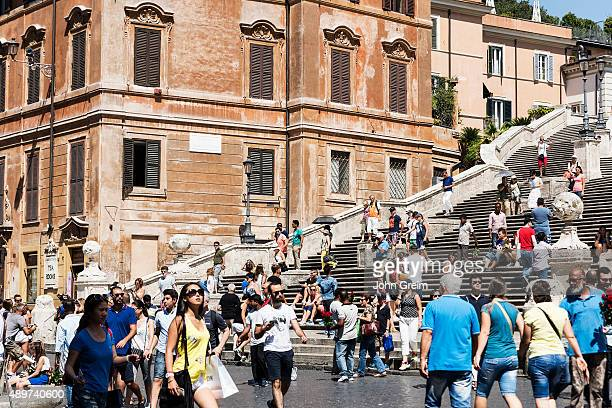 The popular Spanish Steps area attracts heavy tourist crowds