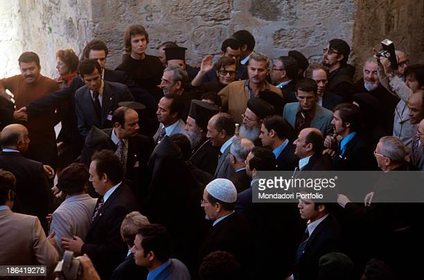The population welcoming joyfully President of Egypt Anwar Sadat during his visit to Jerusalem Jerusalem November 1977
