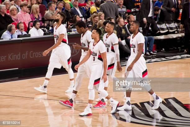 The Porltand Trail Blazers walk off the court in Game Four of the Western Conference Quarterfinals against the Golden State Warriors of the 2017 NBA...