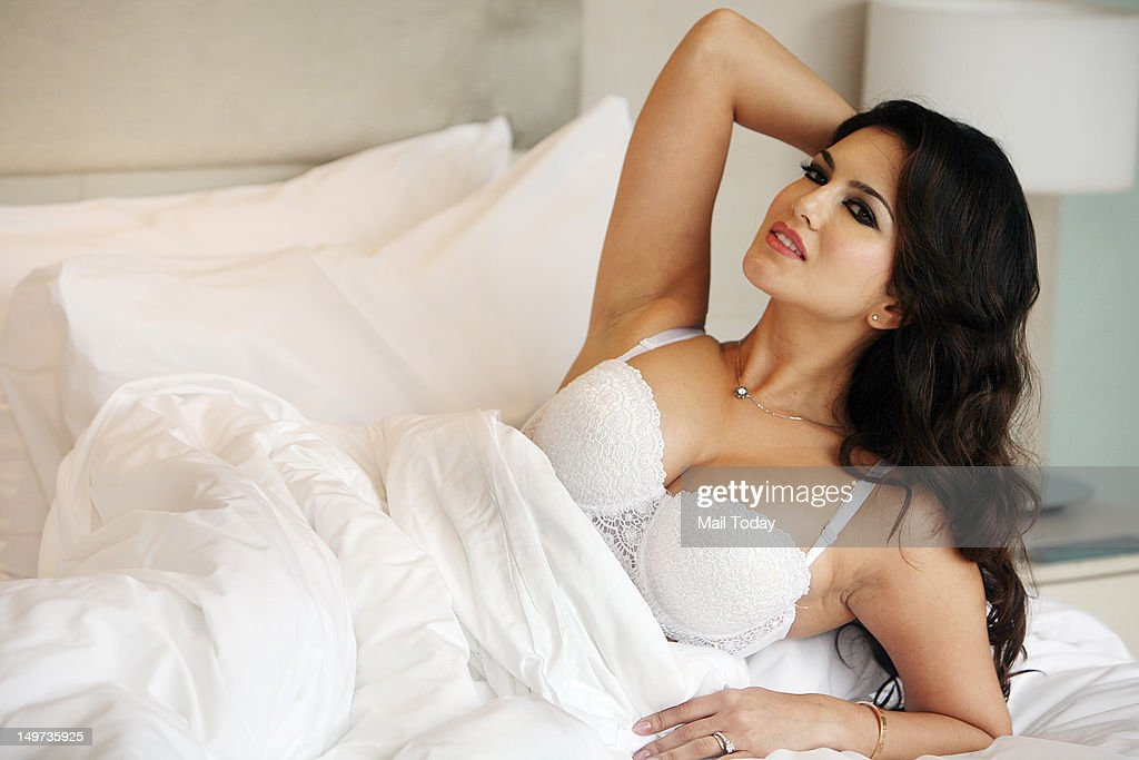 The porn star Sunny Leone during a photoshoot in Delhi to promote her film.