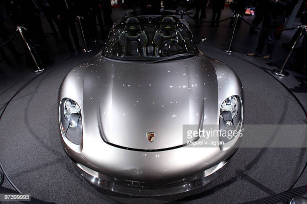The Porsche 918 Spyder concept car is pictured during the second press day at the 80th Geneva International Motor Show on March 3 2010 in Geneva...