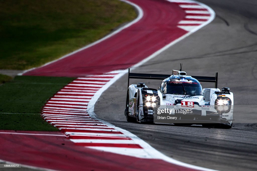 The #18 Porsche 919 Hybrid of <a gi-track='captionPersonalityLinkClicked' href=/galleries/search?phrase=Romain+Dumas&family=editorial&specificpeople=805197 ng-click='$event.stopPropagation()'>Romain Dumas</a>, <a gi-track='captionPersonalityLinkClicked' href=/galleries/search?phrase=Neel+Jani&family=editorial&specificpeople=541892 ng-click='$event.stopPropagation()'>Neel Jani</a>, and <a gi-track='captionPersonalityLinkClicked' href=/galleries/search?phrase=Marc+Lieb&family=editorial&specificpeople=3199675 ng-click='$event.stopPropagation()'>Marc Lieb</a> is shown in action during practice for the FIA World Endurance Championship race at Circuit of The Americas on September 17, 2015 in Austin, Texas.