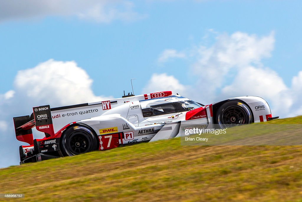 The #17 Porsche 919 Hybrid of <a gi-track='captionPersonalityLinkClicked' href=/galleries/search?phrase=Timo+Bernhard&family=editorial&specificpeople=4194103 ng-click='$event.stopPropagation()'>Timo Bernhard</a>, <a gi-track='captionPersonalityLinkClicked' href=/galleries/search?phrase=Mark+Webber+-+Race+Car+Driver&family=editorial&specificpeople=167271 ng-click='$event.stopPropagation()'>Mark Webber</a> , and <a gi-track='captionPersonalityLinkClicked' href=/galleries/search?phrase=Brendon+Hartley&family=editorial&specificpeople=4823179 ng-click='$event.stopPropagation()'>Brendon Hartley</a> races up a hill during practice for the FIA World Endurance Championship race at Circuit of The Americas on September 18, 2015 in Austin, Texas.