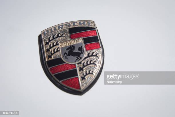 The Porsche AG logo is seen on the hood of a 1974 Porsche AG Carrera 911 vehicle prepared by Brumos Racing parked in CrotononHudson New York US on...