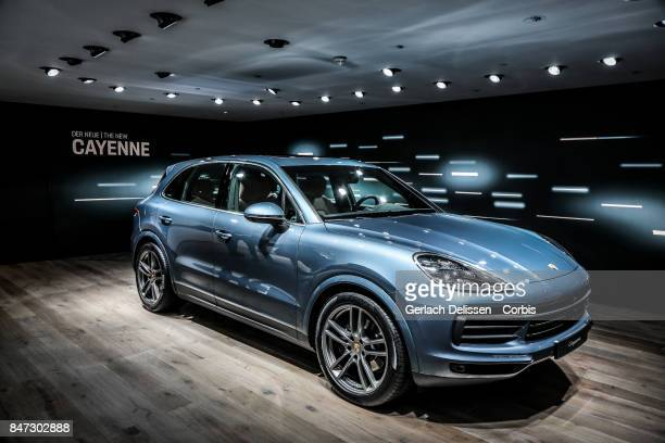 The Porsche Cayenne on display at the 2017 Frankfurt Auto Show 'Internationale Automobil Ausstellung' on September 13 2017 in Frankfurt am Main...