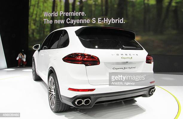 The Porsche Cayenne S ehybrid by German automaker Porsche is presented during the Paris Motor Show 'Mondial de l'Automobile' in Paris France on 02...