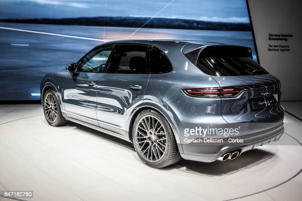 The Porsche Cayenne S on display at the 2017 Frankfurt Auto Show 'Internationale Automobil Ausstellung' on September 13 2017 in Frankfurt am Main...