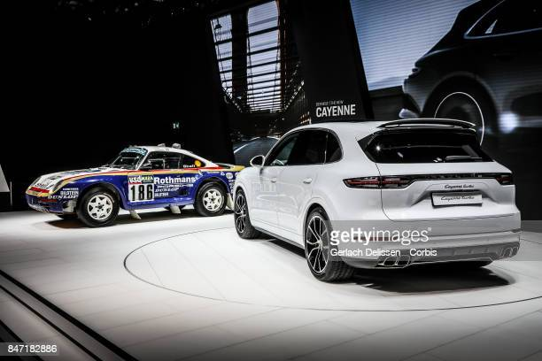 The Porsche Cayenne Turbo on display at the 2017 Frankfurt Auto Show 'Internationale Automobil Ausstellung' on September 13 2017 in Frankfurt am Main...
