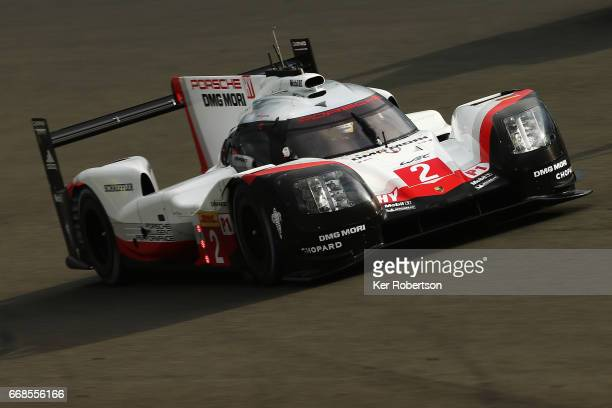 The Porsche LMP Team 919 Hybrid of Brendon Hartley Timo Bernhard and Earl Bamber drives during practice for the FIA World Endurance Championship at...