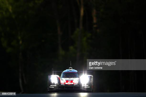 The Porsche LMP Team 919 of Earl Bamber Timo Bernhard and Brendon Hartley drives during qualifying for the Le Mans 24 Hour Race at Circuit de la...