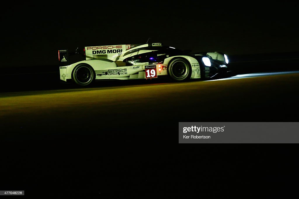 The Porsche Team 919 Hybrid of Earl Bamber Nick Tandy and Nico Hulkenburg drives during the Le Mans 24 Hour race at the Circuit de la Sarthe on June...