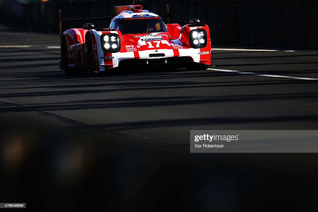The Porsche Team 919 Hybrid of <a gi-track='captionPersonalityLinkClicked' href=/galleries/search?phrase=Mark+Webber+-+Piloto+de+automobilismo&family=editorial&specificpeople=167271 ng-click='$event.stopPropagation()'>Mark Webber</a>, Brendon Hartley and Timo Bernhard drives during morning warm up for the Le Mans 24 Hour race at the Circuit de la Sarthe on June 13, 2015 in Le Mans, France.