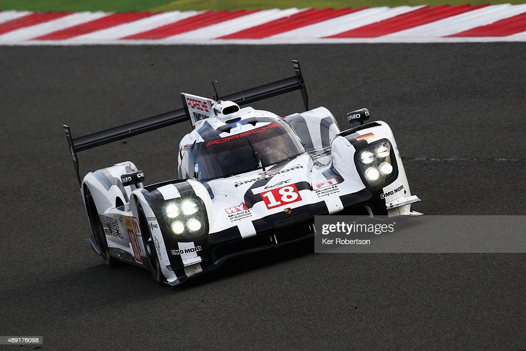The Porsche Team 919 Hybrid of <a gi-track='captionPersonalityLinkClicked' href=/galleries/search?phrase=Neel+Jani&family=editorial&specificpeople=541892 ng-click='$event.stopPropagation()'>Neel Jani</a>, <a gi-track='captionPersonalityLinkClicked' href=/galleries/search?phrase=Romain+Dumas&family=editorial&specificpeople=805197 ng-click='$event.stopPropagation()'>Romain Dumas</a> and <a gi-track='captionPersonalityLinkClicked' href=/galleries/search?phrase=Marc+Lieb&family=editorial&specificpeople=3199675 ng-click='$event.stopPropagation()'>Marc Lieb</a> drives during practice for the FIA World Endurance Championship 6 Hours of Silverstone at Silverstone Circuit on April 10, 2015 in Northampton, England.