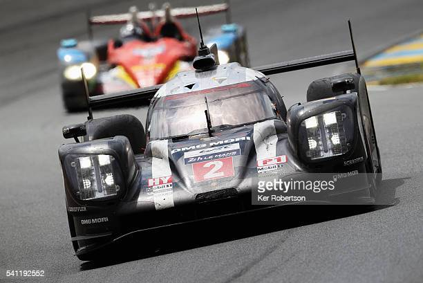 The Porsche Team 919 of Neel Jani Romain Dumas and Marc Lieb drives on its way to winning the Le Mans 24 Hour race at the Circuit de la Sarthe on...