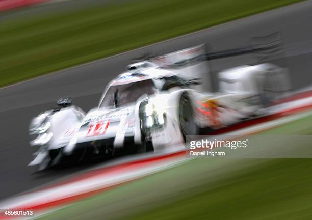 The Porsche Team Porsche 919 Hybrid LMP1 driven by Marc Lieb of Germany Neel Jani of Switzerland and Romain Dumas of France during practice for the...
