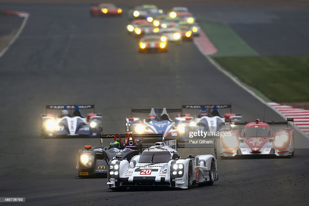 The #20 Porsche Team Porsche 919 Hybrid LMP1 driven by Mark Webber of Australia, Timo Bernhard of Germany and Brendan Hartley of New Zealand during the FIA World Endurance Championship 6 Hours of Silverstone sportscar race at the Silverstone Circuit on April 20, 2014 in Northampton, England.
