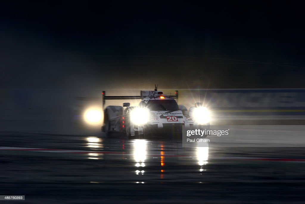 The #20 Porsche Team Porsche 919 Hybrid LMP1 driven by <a gi-track='captionPersonalityLinkClicked' href=/galleries/search?phrase=Mark+Webber+-+Race+Car+Driver&family=editorial&specificpeople=167271 ng-click='$event.stopPropagation()'>Mark Webber</a> of Australia, Timo Bernhard of Germany and Brendan Hartley of New Zealand during the FIA World Endurance Championship 6 Hours of Silverstone sportscar race at the Silverstone Circuit on April 20, 2014 in Northampton, England.