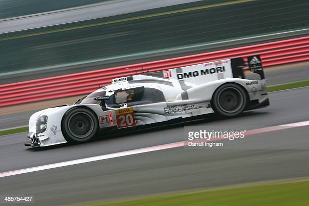 The Porsche Team Porsche 919 Hybrid LMP1 driven by Mark Webber of Australia Timo Bernhard of Germany and Brendan Hartley of New Zealand during the...