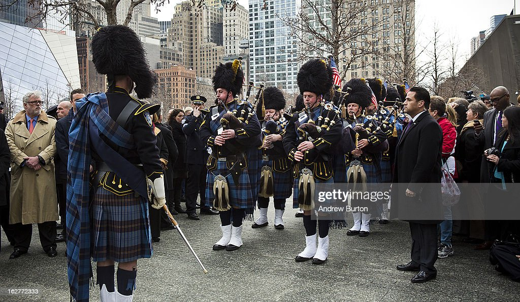 The Port Authority Pipes and Drums band performs during the 20th Anniversary Ceremony for the 1993 World Trade Center bombing at Ground Zero on February 26, 2013 in New York City. The attack, which utilized a car bomb and hit the north tower, killed six people.