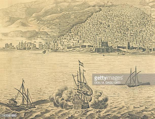 The port of Algiers engraving from Description De L'Afrique by Olfert Dapper Algeria 17th Century