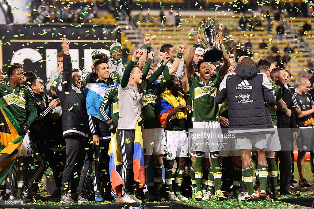 The Portland Timbers celebrate with the MLS Cup trophy on December 6, 2015 at MAPFRE Stadium in Columbus, Ohio. Portland defeated Columbus Crew SC 2-1 to claim the MLS Cup title.
