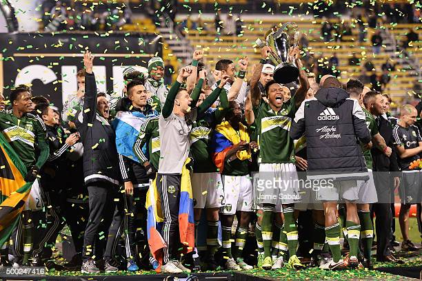 The Portland Timbers celebrate with the MLS Cup trophy on December 6 2015 at MAPFRE Stadium in Columbus Ohio Portland defeated Columbus Crew SC 21 to...