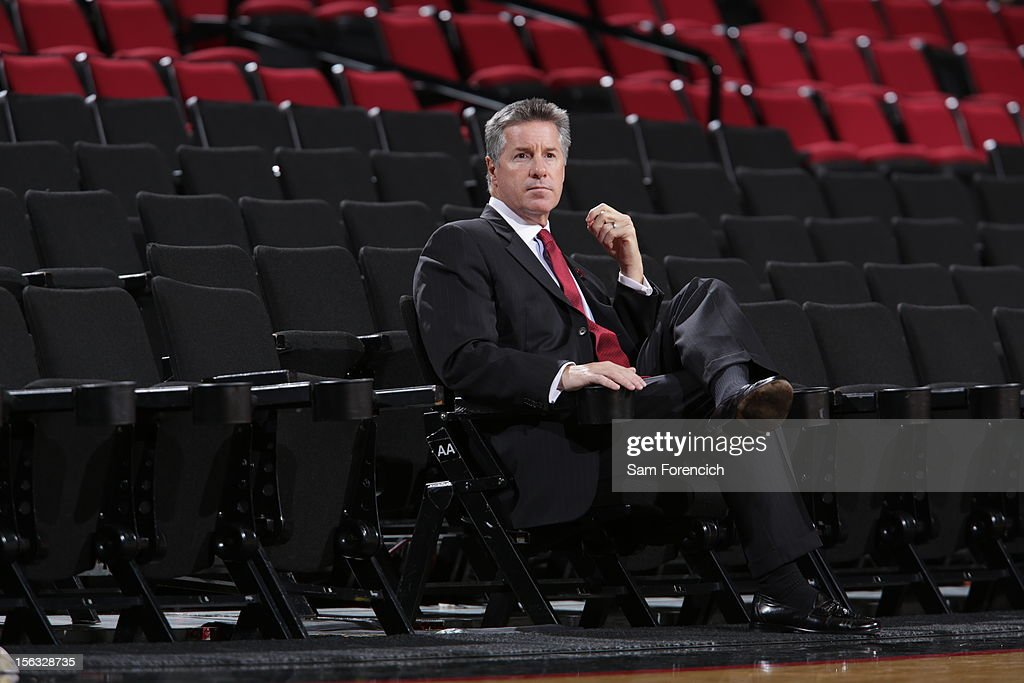 The Portland Trail Blazer General Manager <a gi-track='captionPersonalityLinkClicked' href=/galleries/search?phrase=Neil+Olshey&family=editorial&specificpeople=2214642 ng-click='$event.stopPropagation()'>Neil Olshey</a> before the game against the Los Angeles Clippers on November 8, 2012 at the Rose Garden Arena in Portland, Oregon.
