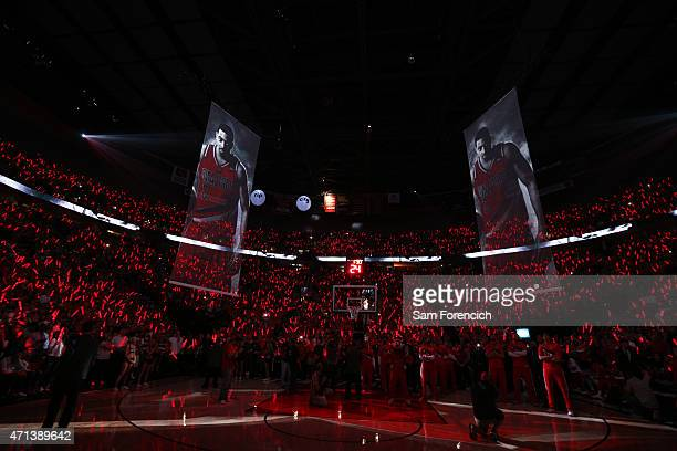 The Portland Trail Blazers against the Memphis Grizzlies in Game Four of the Western Conference Quarterfinals during the 2015 NBA Playoffs on April...
