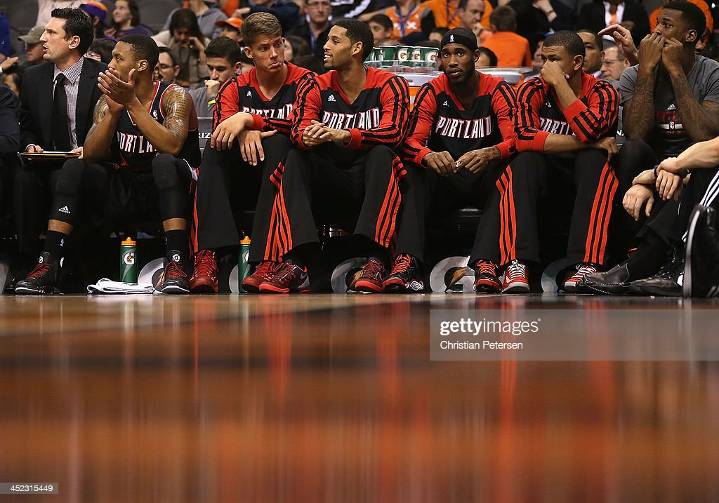 The Portland Trail Blazers bench looks on during the NBA game against the Phoenix Suns at US Airways Center on November 27, 2013 in Phoenix, Arizona.