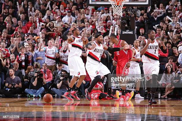 The Portland Trail Blazers celebrate during a game against the Houston Rockets in Game Four of the Western Conference Quarterfinals during the 2014...