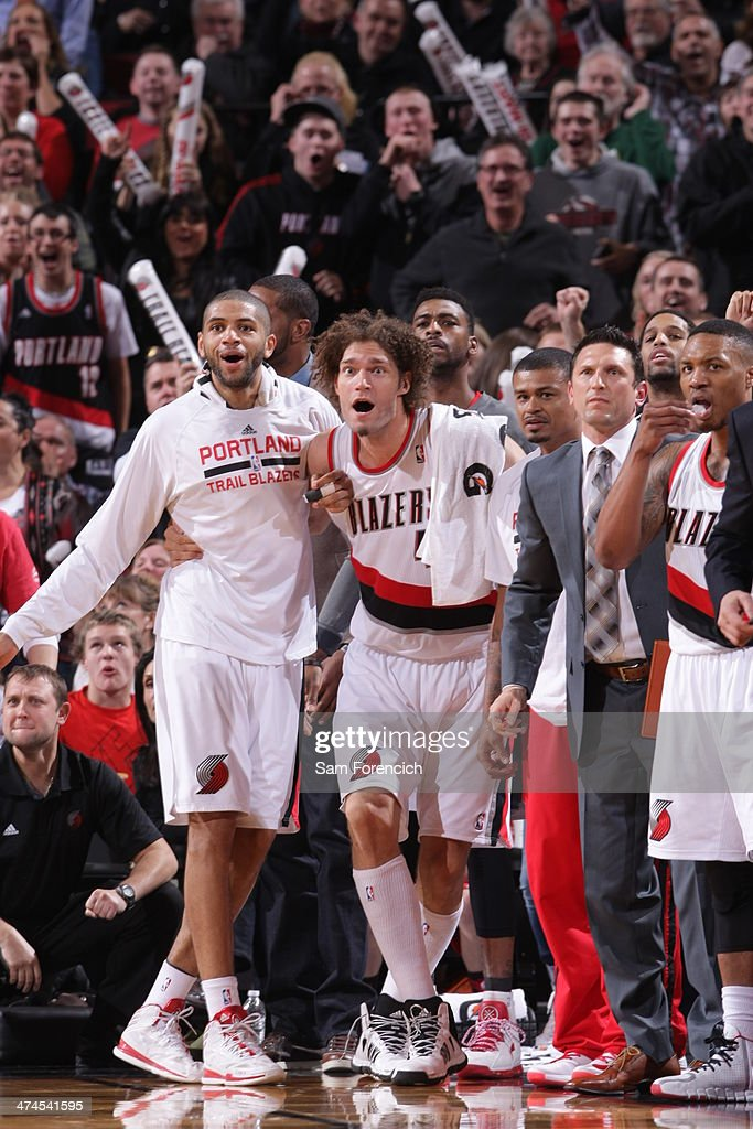 The Portland Trail Blazers celebrate during a game against the Minnesota Timberwolves on February 23, 2014 at the Moda Center Arena in Portland, Oregon.