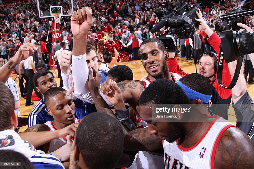 The Portland Trail Blazers huddle up after the game against the Los Angeles Clippers on January 26, 2013 at the Rose Garden Arena in Portland, Oregon.