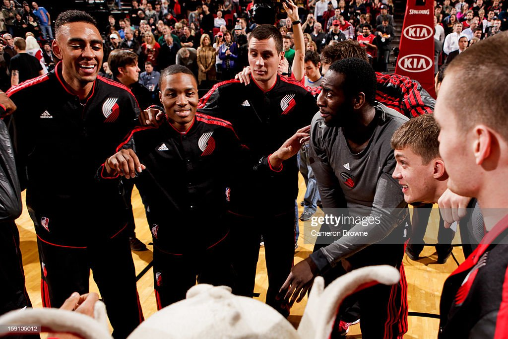 The Portland Trail Blazers huddle up before playing the Orlando Magic on January 7, 2013 at the Rose Garden Arena in Portland, Oregon.