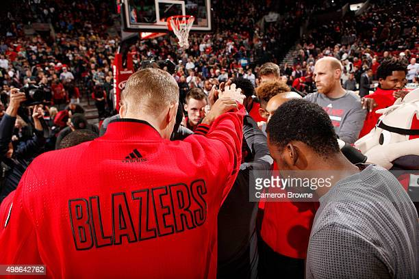 The Portland Trail Blazers huddle up before the game against the Chicago Bulls on November 24 2015 at the Moda Center Arena in Portland Oregon NOTE...