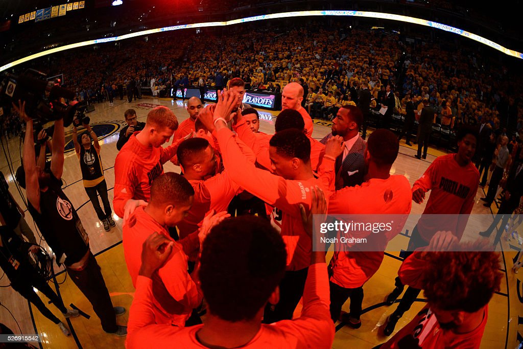 The Portland Trail Blazers huddle up before the game against the Golden State Warriors in Game One of the Western Conference Semifinals during the 2016 NBA Playoffs on May 1, 2016 at ORACLE Arena in Oakland, California.