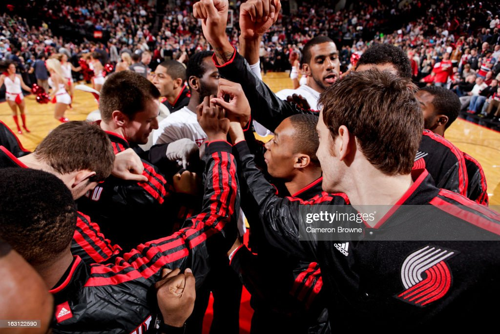 The Portland Trail Blazers huddle up before their game against the Charlotte Bobcats on March 4, 2013 at the Rose Garden Arena in Portland, Oregon.
